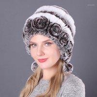Beanie / Capas de cráneo Invierno Mujeres Flores Rayas Natural Rex Rex Piel Sombreros Lady Warm Knit Genuino Ruso Ruso Outdoor Hats1