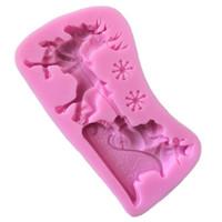 Natal do brinquedo presente Mold epóxi resina de silicone trenó de Papai Noel Moose Moldes decorativa Feito à Mão Brinquedos Mold 4 5yn L2