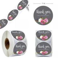 Runde Blume danke Aufkleber selbstklebende Aufkleber Einladungskarte Label Paster Umschlag Dichtung Dekorativ für Ihr Unternehmen 1 99JR D2