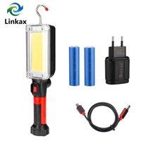 New Lanterna portátil de energia de 2 * 18650 Bateria LED COB Magnetic Trabalho Iluminação Linternas para Camping pesca da noite