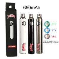 Dabwoods Batterie de Vape 650MAH Préchauffage Tension réglable 510 Thread Vape Stylos Batterie 3 couleurs ECIGS Batteries avec câble USB