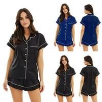 Neue Frauen Silk Satin Pyjamas Set Kurzarm Sleepwear Zweiteiler Set Loungewear Plus Größe