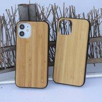 iPhone 12 11 Mini Pro MAX XS XR 7 8 artı SE 2 bambu Ahşap arka kapak kabuk özelleştirilmiş logosu için Telefon Kılıfı