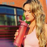 Diller Water Sport бутылка с соломкой для тренажерный зал бутылки BPA Бесплатный тритан пластиковый спортивный шейкер воды + бутылки 750 мл для ребенка / женщины T200911