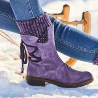 الأحذية Akexiya المرأة منتصف العجل الشتاء الدافئ البريدي الثلوج أنثى بو الجلود الصلبة منصة الخياطة الأحذية النساء السببية