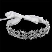 El yapımı kristal çiçekler şerit gelin bandı tiara taç gümüş kaplama düğün saç aksesuarları rhinestone kadın kafa parçaları