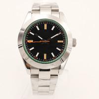 YZ 공장 자동 2813 무브먼트 39mm 남자 시계 시계 316L 스테인레스 스틸 팔찌 블랙 다이얼 녹색 내부 망 116400 손목 시계