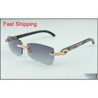 2021 Gli ultimi occhiali da sole da 3524012-16 diamanti, occhiali da sole a corno di personalità nera naturale, quadrato Fas Qyliux Nana_Shop