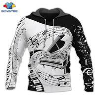 Sonspee أزياء الجدة الشارع الشهير هوديي الرجال البلوز قمصان الموسيقية ملاحظة 3d طباعة مقنع البلوز البيانو المتناثرة طويلة الأكمام 201104