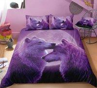 3D-hete verkoop paars paar wolf afdrukken beddengoed set dekbedovertrek set Twin volledige koningin kingsize maten bedclothes1