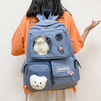 Мило для колледжа девочек Student Laptop Backpack Очистить Ita Сумка Женщины путешествия рюкзака большой емкости Bagpack с Pin H202 Q1113