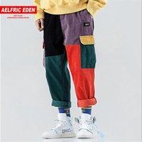 Aelfric Eden Corduroy Sweatpants Cargo Pants Men Harem Jogger Vintage Color Block Patchwork Corduroy Hip Hop Harajuku Pantaloni 201110