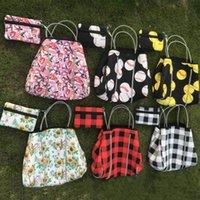 küçük jeton çanta GH829 ile neopren ayçiçeği ekose beyzbol çanta onay baskılı depolama torbaları moda bayan kız plaj jimnastik omuz çantaları