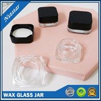 Frasco de vidro à prova de criança para cera e concentra o estilo quadrado do estilo quadrado 3ml 5ml recipientes mistos do armazenamento da cera