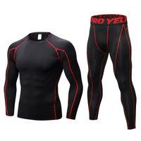 Conjuntos de manga larga ropa deportiva para hombres Trajes deportivos para hombres Hombres Entrenamiento Entrenamiento Gimnasio Sport Sport Fitness Compression T Shirt Leggings Tights1