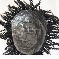 Humanes Haar lockige Toupee Haarteil für Männer Afro Courly Toupee Full Skin PU Mens Toupee Ersatzsystem Natürliche Haare PU Männer Perücke