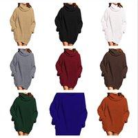 2020 новой осени-зима мода высокой шея вскользь пуловер женской одежда с длинным рукавом высокой шеи длиной кармана средней шерсть платья