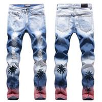 Jeans de haute qualité pour hommes de noix de coco de cocotipe imprimé jeans déchiré de couleur slim ajustement trous stretch denim pantalon pantalon de pantalon