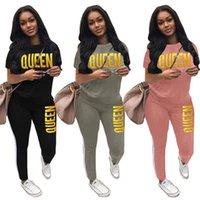 Yaz Spor Kadın Tasarımcı Eşofman Kraliçe Mektuplar Baskılı Damgalama Altın T Shirt Pantolon Tayt İki Parçalı Günlük Kıyafet Giysileri H2103