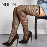 Plus Size Sexy Pointed Hollow Net Stockings Women's Boots Over The Knee 2020 NIUFUNI Black New Stiletto Sleeves High Heels Shoes