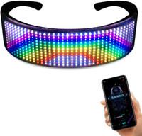 원래 사이버 펑크 매직 블루투스 Glowling LED 안경 앱 제어 방패 빛나는 안경 USB 충전 DIY 빠른 플래시 LED 빛나는 안경
