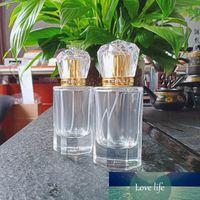 Nyaic 50 ml achteckige Krone Goldabdeckung Diamant High-End Transparent Glas Parfümspray Flasche Lotion Tragbare Feinnebel leer b