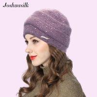 Шапочки / черепные колпачки Joshuasilk зимняя женская шапка вязаная ангора мода полосатый двойной теплый