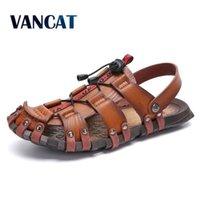 Vancat Neue Casual Männer Weiche Sandalen Komfortable Männer Sommer Leder Sandalen Männer Römische Sommer Outdoor Strand Sandalen Große Größe 38-47 Y200702