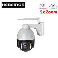 카메라 Hebeiros 1080P 자동 모션 추적 5x 줌 IP PTZ 와이파이 카메라 야외 IP67 방수 무선 보안 2MP CCTV
