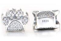 Past Pandora Armbanden Honden Paw Afdrukken Katten Zilveren Charm Bead Dier Voetafdruk Losse Kralen Groothandel PS2799