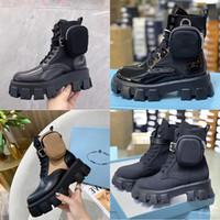 النساء luxurys مصممي الأحذية رويس أحذية الكاحل متراصة مارتن الأحذية والنايلون التمهيد الجيش التمهيد القتالية مستوحاة أكياس القابلة للإزالة مع صندوق
