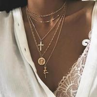 Gioielli Collana Medaglia Boemia Donne collana della traversa di stile della nuova annata fiore della Rosa di Coin Pendant Ragazze multistrato Accessori regalo