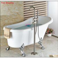 Оптовые и розничные твердые латунные щеткой никель для ванной комнаты ванной комнаты Бесплатная стоят наполнитель ванны W / BRA QYLOIM DH_SELLER2010