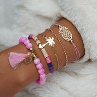 Charme Braceletes Bohemian rosa borla beads para mulheres 5 pçs / set abacaxi coração coco árvore multicamada pulseira jóias presente bracelete1