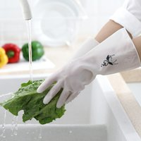 Полупрозрачный чистый цвет чистки перчатка резиновая печать шаблон бытовые перчатки домашняя уборка мягкая варежка новое прибытие 2 2bd l1
