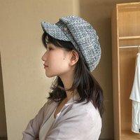 Bereler ilkbahar ve sonbahar şapka kadın Kore tarzı moda zarif düz çatı donanma keten vintage bere çok yönlü yaz brim1
