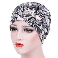 Beanie / Kafatası Kapaklar Kadınlar Hindistan Şapka Müslüman Kanser Eşarp Türban Başkanı Wrap Cap Yaz Baskı Chemo Beanie İslam Streç 4.11