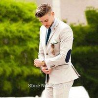 Beige Suit Men Wedding Suits For Men Elb ow Patches Business Casual Groom Wear Tuxedo Slim Fit Male Blazers 2Pieces Jacket Pants