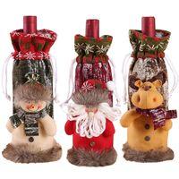 Новые рождественские украшения Симпатичные вязаные ткани Трехмерный куклы Санта-Клауса Элк бутылки вина крышки Таблица украшения W-00349
