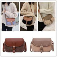 Lamb Wool Women Vintage Handbags PU Lamb Plush Crossbody Messenger Bag Designers Patchwork Square Ladies Fashion Shoulder Bags LY11104