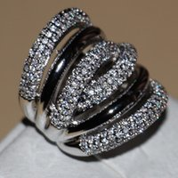Victoria Wieck Full Tiny Stones Women's Fashion jewelry 14kt white gold filled Zirconia Wedding Engagement Lady's Band Rings gift Size 6-9