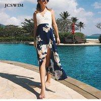 Jcswim v pescoço chiffon cópia longa túnica vestido de praia mulheres sexy lace beachwear biquini banheiro terno tampa para retrato de banho retrocesso1
