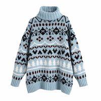 Pseewe Blue Jacquard негабаритный свитер Женщины za зима Tturtleneck винтажный вязаный свитер женщина рождественские свитеры pullover y201128