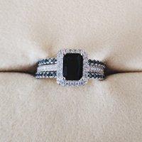 925 anillos de bodas de plata esterlina establecidos 3 en 1 anillo de banda para mujeres compromiso de la joyería de moda bridal dedo de la Navidad
