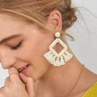 استرخى الثريا فلورا أزياء بيضاء مطرز شرابة أقراط للنساء بنات بوهو خيوط القرط تصاميم بيان مجوهرات ERSQ131