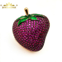 Amazing Full Micro Pave CZ Lovely Strawberry Brooches Gold T...