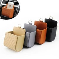 Car Organizer Mobile Phone Bag Storage Bucket PU Leather Auto Outlet Air Vent Trash Case Hand Holder Pouch