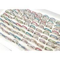 Hot 20pcs / pack surtido 6mm Single-fila Cristal completo de acero inoxidable Anillo de joyería para hombres para mujer Anillos de compromiso de boda Oka4l
