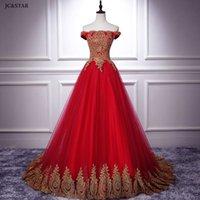 wedding dress new tulle gold applique OFF shoulder A Line red vestido de noiva princesa Sweep Train beach bridal gown