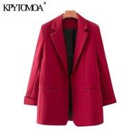 KPYTOMOA Women 2020 Fashion Office Wear Red Blazer Coat Vintage Long Sleeve Pockets Female Outerwear Chic Tops